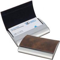 גארד – קופסת כרטיסי ביקור מתכת טיטניום, ציפוי דמוי עור חום