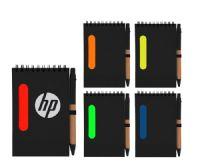 פנקס A6 שחור עם פס צבעוני+עט